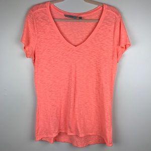 Athleta V Neck T Shirt Neon Orange Sz M Workout